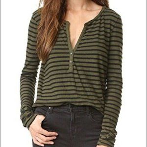 Pam & Gela Striped Henley Long Sleeve Top sz S